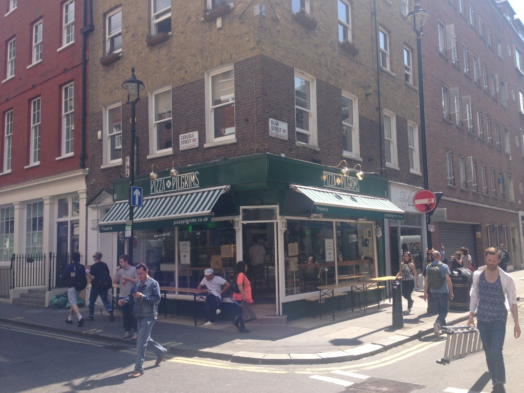 Pizza Pilgrims. Tucked away on the corner of Carlisle Street and Dean Street in Soho, London.