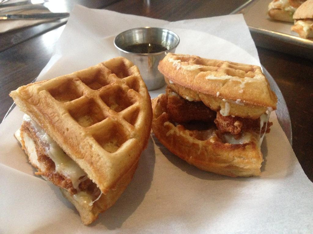 Barcade chicken cheese waffle sandwich